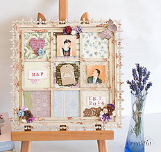 Rámiky - Rámik na koláž zo svadobných fotiek v staro-anglickom patchwork štýle - 6950634_