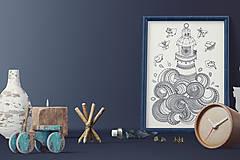 Grafika - Maják - Slaná rozprávka - čiernobiela ilustrácia / maľovanka - 6950836_