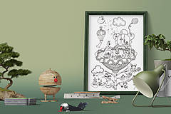 Grafika - Detský svet - Život v kvetine - čiernobiela ilustrácia / maľovanka - 6950995_