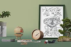 Grafika - Čarovná obývačka - Život v kvetine - čiernobiela ilustrácia / maľovanka - 6951024_