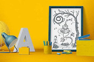 Grafika - Záhradná slávnosť - Čaro domova - čiernobiela ilustrácia / maľovanka - 6950698_