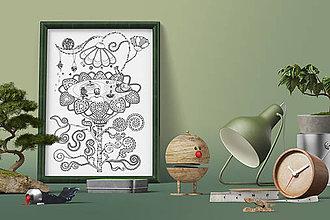 Grafika - Leto v bazéne - Život v kvetine - čiernobiela ilustrácia / maľovanka - 6950982_