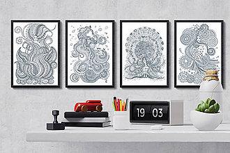 Grafika - Živý život živlov - Séria 4 plagátov - čiernobiele ilustrácie / maľovanky - 6953293_
