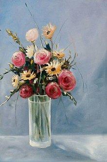 Obrazy - Ruže vo váze - 6950762_