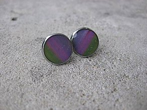 Náušnice - Napichovačky 13mm,farebné (Dúhovo pásikové napichovačky 13 mm, č.528) - 6952781_
