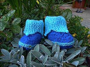 Topánočky - Modré babypapučky  s bambuľkami - 6952652_