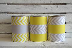 Nádoby - SKLADOM - dozičky 3 kusy - žlto sivé na želanie - 6952448_