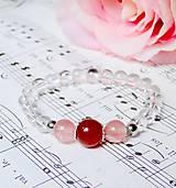 Náramky - Red Jade, Cherry Quartz & Quartz / Elastický náramok - 6956380_