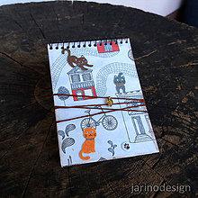 Papiernictvo - Špirálový bloček A7 - mačky - 6953546_