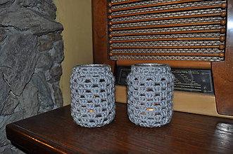 Svietidlá a sviečky - 2 háčkované svietniky - šedé - 6955995_