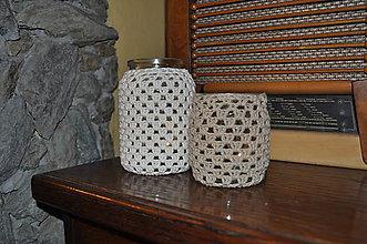 Svietidlá a sviečky - 2 háčkované svietniky - prírodné odtiene - 6956106_