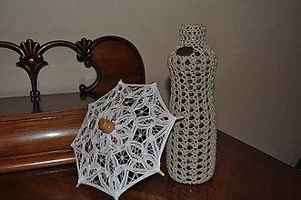 Dekorácie - Háčkovaná váza - prírodná - 6956203_