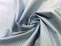 Textil - Bavlna bodky biele na modrom - cena za 10 cm - 6955999_