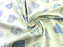 Textil - Bavlnená látka srdcia modré - cena za 10 cm - 6956248_