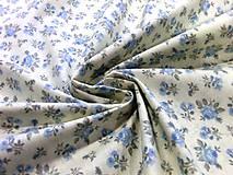Textil - Bavlnená látka ružičky malé modré - cena za 10 cm - 6956427_