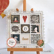 Rámiky - Rámik na koláž zo svadobných fotiek čierno-biely s červenou a zlatou - 6953604_