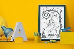 Grafika - Čaro domova - Séria 4 plagátov - čiernobiele ilustrácie / maľovanky - 6953573_