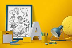 Grafika - Čaro domova - Séria 4 plagátov - čiernobiele ilustrácie / maľovanky - 6953574_