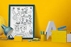 Grafika - Čaro domova - Séria 4 plagátov - čiernobiele ilustrácie / maľovanky - 6953575_