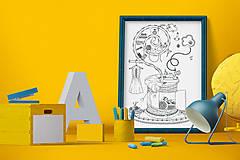 Grafika - Čaro domova - Séria 4 plagátov - čiernobiele ilustrácie / maľovanky - 6953576_