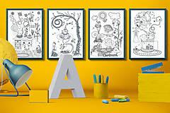 Grafika - Čaro domova - Séria 4 plagátov - čiernobiele ilustrácie / maľovanky - 6953577_