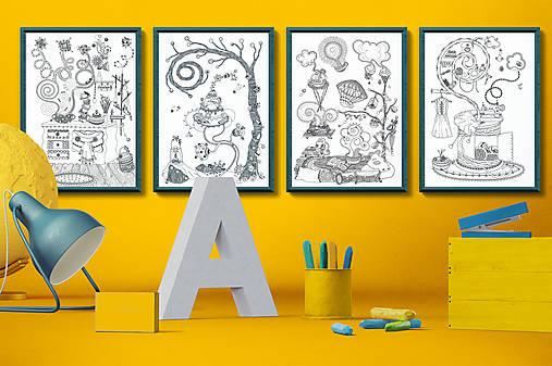Čaro domova - Séria 4 plagátov - čiernobiele ilustrácie / maľovanky