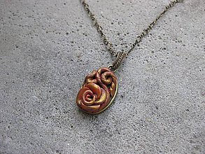 Náhrdelníky - Mosadzná ruža - náhrdelník č.530 - 6954472_