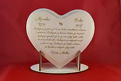 Darčeky pre svadobčanov - Poďakovanie rodičom lipové srdiečko + stojanček 10 - 6955430_