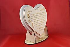 Darčeky pre svadobčanov - Poďakovanie rodičom lipové srdiečko + stojanček 11 - 6955465_