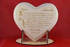 Darčeky pre svadobčanov - Poďakovanie rodičom lipové srdiečko + stojanček 11 - 6955467_