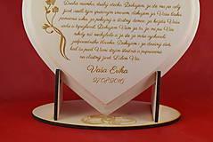 Darčeky pre svadobčanov - Poďakovanie rodičom lipové srdiečko + stojanček 11 - 6955470_