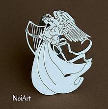 Papier - Papierový výrez Anjel s harfou - 6959416_