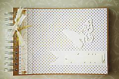 Papiernictvo - Album na fotografie / kniha hostí - zlatá - 6957444_