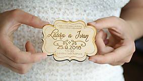 Drevené gravírované svadobné oznámenie Laura