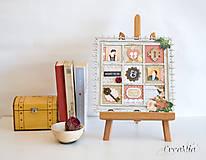 Rámiky - Rámik na koláž zo svadobných fotiek vo vintage štýle v hnedej, bielej, červenej s viktoriánskymi ružami - 6956877_