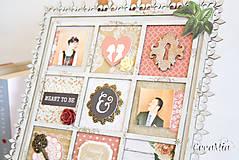 Rámiky - Rámik na koláž zo svadobných fotiek vo vintage štýle v hnedej, bielej, červenej s viktoriánskymi ružami - 6956878_