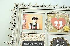 Rámiky - Rámik na koláž zo svadobných fotiek vo vintage štýle v hnedej, bielej, červenej s viktoriánskymi ružami - 6956880_
