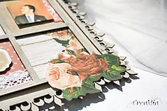 Rámiky - Rámik na koláž zo svadobných fotiek vo vintage štýle v hnedej, bielej, červenej s viktoriánskymi ružami - 6956881_