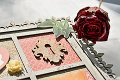 Rámiky - Rámik na koláž zo svadobných fotiek vo vintage štýle v hnedej, bielej, červenej s viktoriánskymi ružami - 6956883_
