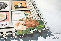Rámiky - Rámik na koláž zo svadobných fotiek vo vintage štýle v hnedej, bielej, červenej s viktoriánskymi ružami - 6956884_