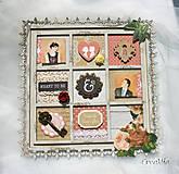 Rámiky - Rámik na koláž zo svadobných fotiek vo vintage štýle v hnedej, bielej, červenej s viktoriánskymi ružami - 6956885_