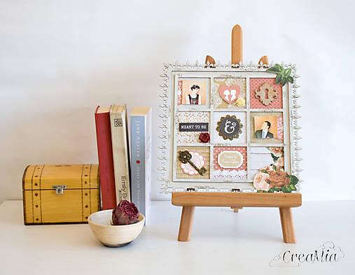 Rámik na koláž zo svadobných fotiek vo vintage štýle v hnedej, bielej, červenej s viktoriánskymi ružami