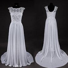 Šaty - Svadobné šaty z hrubej krajky s U výstrihom na chrbáte - 6958532_