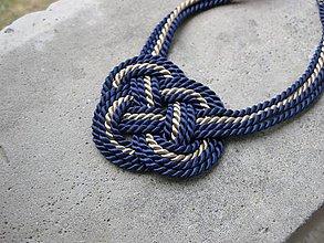 Náhrdelníky - Uzlový náhrdelník hrubý (bežovo modrý, č. 1803) - 6957276_