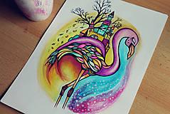 Kresby - Plameniakov sen (rezervované) - 6959722_