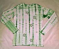 Tričká - Bílo-zelené batikované dámské triko s želvami XL - 6957713_