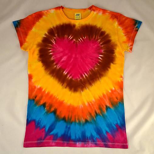 Dámské pestrobarevné triko se srdcem, vel. XL
