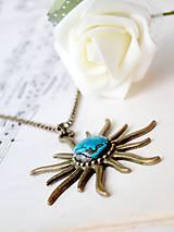 Náhrdelníky - Turquoise & Sun in Bronze / Náhrdelník s pravým tyrkysom - 6962014_