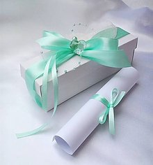 Papiernictvo - Svadobné oznámenie v krabičke - mentol - 6963463_