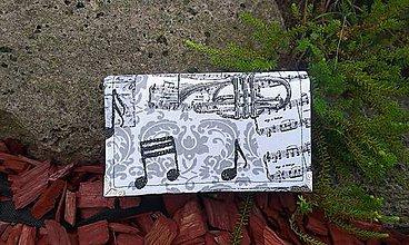 Peňaženky - Notová na 8 kariet,koženka + bavlna - 6962603_
